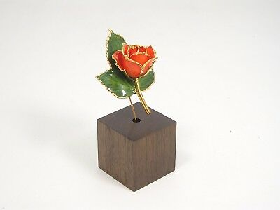 """3"""" 24k Gold Dipped Peach Rose in Walnut Stand (Free Valentine's Day Gift Box)"""