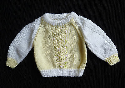 Baby clothes UNISEX BOY GIRL newborn 0-1m hand-knitted yellow/white sweater NEW!