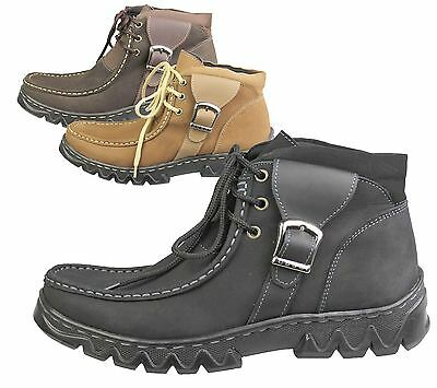 Boys Lace Up Shoes Nubuck Leather Casual Comfort Boots Hiking Walking Boots Size