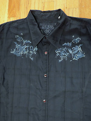 ** GUESS **Awesome Decorated 100% Cotton Navy Blue Snap Button Western Shirt XXL
