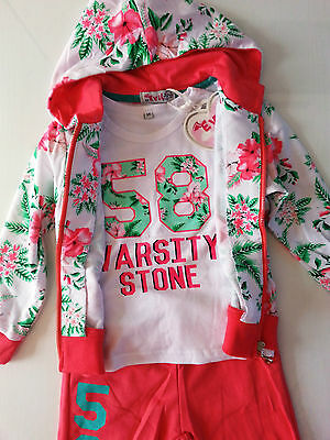 Girls Tracksuits 3 Pcs Outfit Hoodie Pants Top Flowers Design Tracksuits SALE