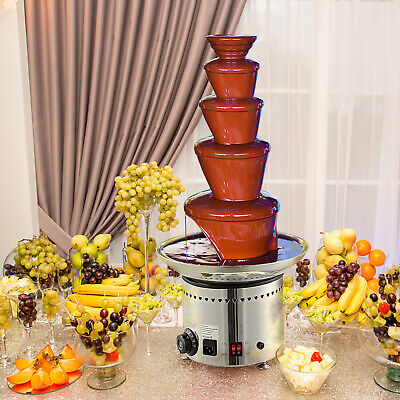 Commercial Chocolate Fondue Fountain - Large 5 Tiers, Stainless - UK Warranty