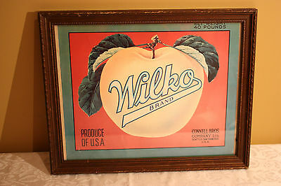 """Wilko Brand Produce Sign Connell Bros. Vintage Framed 13"""" x 10.5"""""""