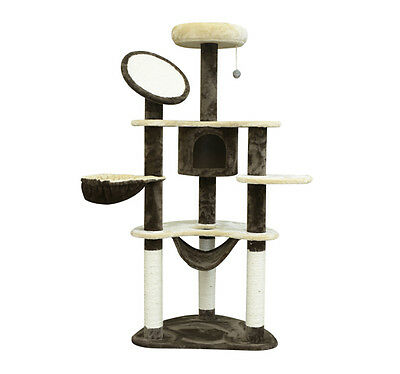 Arbre à chat griffoir 2 niches 157cm beige et café neuf 27