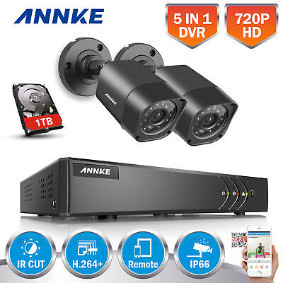 ANNKE AHD 4CH DVR 2x 720P CCTV Security Camera System Phone Remote APP Home 1TB