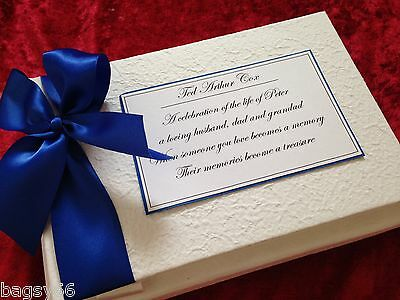 Personalised Book Condolence Funeral Memory Message Guest Book Bereavement Blue