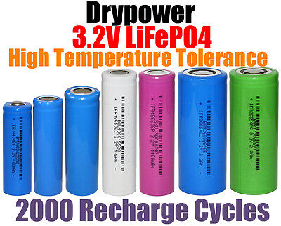 Drypower 3.2V LiFePO4 Lithium Iron Phosphate Rechargeable Batteries >2000 Cycles