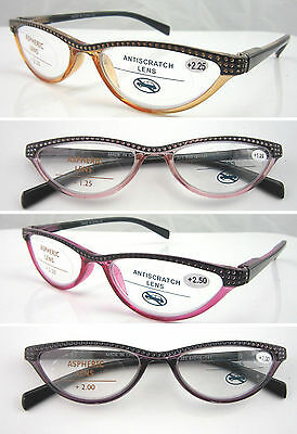 L323 Fashion Diamond Half Reading Glasses With Dotty Style Spring Hinge Designed