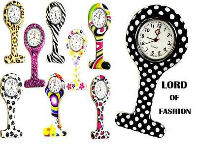 Brand New Patterned Silicon Fashion Brooch Nurse Tunic Watch Fob + Free Battery