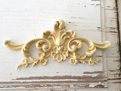 Architectural Carved Floral Crest - Furniture Appliques-Wood & Resin-Flexible