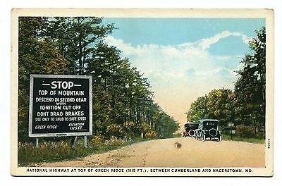 Pre 1930 Unused White Boarder Post Card Green Ridge National Highway Maryland
