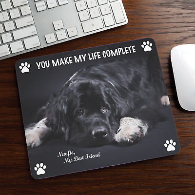 New Design Adorable Black NEWFOUNDLAND Dog Puppy Rubber Computer MOUSE PAD Mat