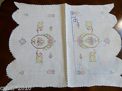 VTG Hand cross stitch Embroidery Table Doily Center Mat Table arm chair cover