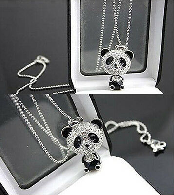 Charms Fashion Womens Necklace Cute Rhinestone Panda Pendant Chain Jewelry Gift