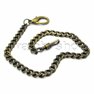 """Antique Copper Link Pocket Watch Fob BRASS Chain 11"""" Lobster Clasp Men Gift FC32"""