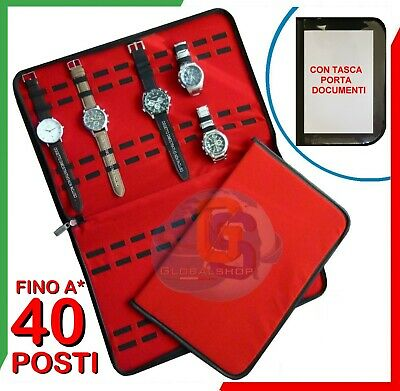 Astuccio Box Custodia Porta Orologio Analogico Digitale 30 15 Posti Simil Pelle