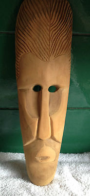 "Hand Carved 18""  SOLID WOOD Wooden TRIBAL FACE Mask - Wall Plaque / Ornament"