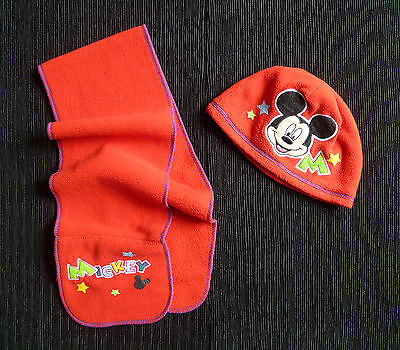 Baby clothes BOY GIRL 1-2 years Disney Mickey Mouse red fleece match hat/scarf