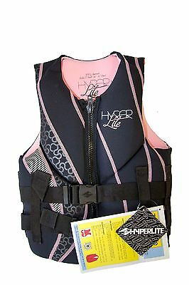 New $90 Hyperlite Indy Womens Life Vest Pink Black Ladies XS Extra Small Jacket