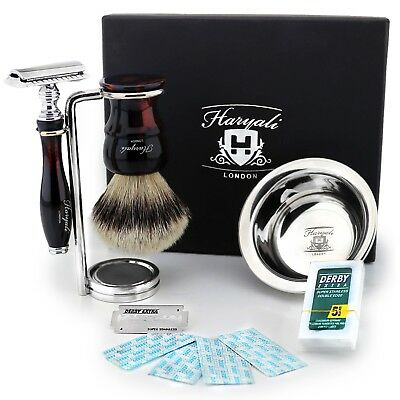 Tortoise Shell Silver Tip Badger Shaving Set + Safety Razor 4Pc Gift Kit for Men