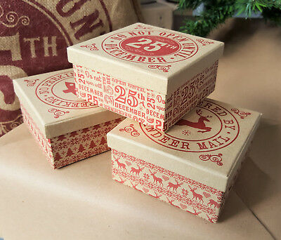 Vintage Paper Craft Christmas Gift Box Do not Open until the 25th Wrap