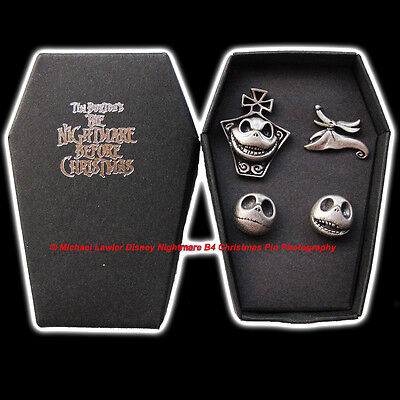 Disney Store Nightmare Before Christmas Pewter 4 Pin Set Coffin Box Faces Jack