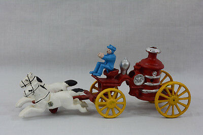Vintage Cast Iron Toy 2 Horse Drawn Fire Truck Pump Wagon with Driver