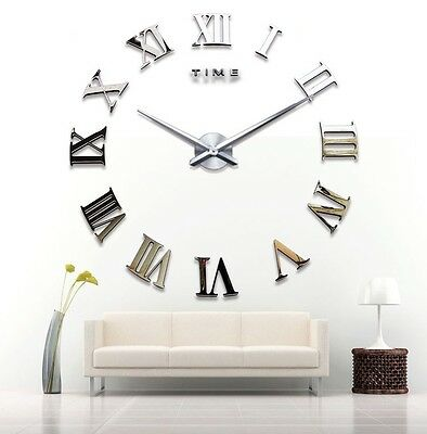 100cm Large Art Design 3D Hanging Wall Clock Mirror Decoration