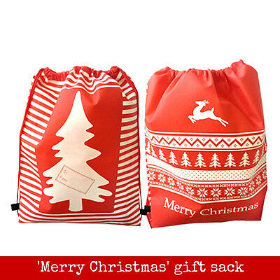 One MERRY CHRISTMAS GIFT SACK - non woven - with drawstring for gifts & presents