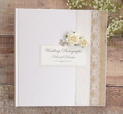 Large Ivory Personalised Wedding Photograph Album - Rose & Butterfly Design