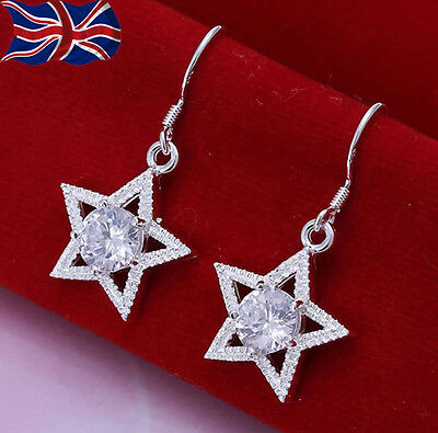 925 Sterling Silver plated Star Earrings Sparkling Crystal Dangle Textured UK