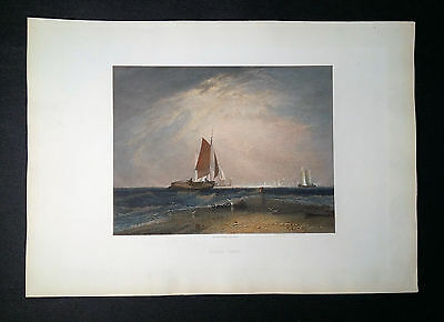 Bligh Sand. Original antiker Stahlstich 1860 Robert Brandard JMW Turner 3v5 TOP