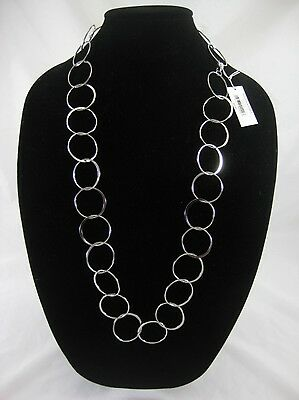 """12 Wholesale New 33"""" Long Silver Hoop Necklaces from Banana Republic #N2488-12"""