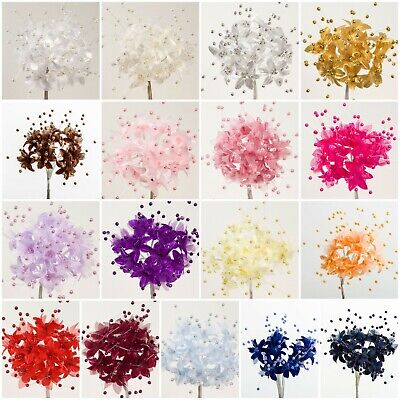 Bunch 12 Baby's Breath Stems Pearl Flower Spray Favour Craft Card Decoration