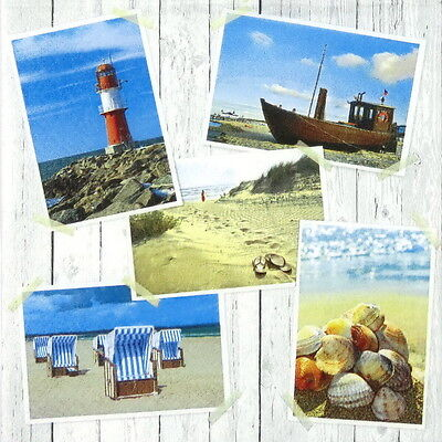 4x Paper Napkins for Decoupage Craft Beach Impressions Sea