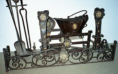 Fireplace Tools Set Antique Rare c 1890 Large Hand Wrought Iron 10 Piece