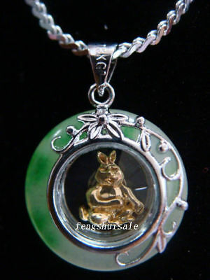 Horoscope Jade Animal Rabbit Pendant+Rhodium Chain