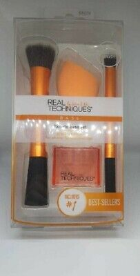 Real Techniques 15 Makeup Brushes Core Collection Eyes Set Travel Kitt Duo-Fiber