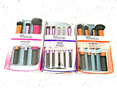 Makeup Brush Real Techniques: Core Collection Eyes Starter Kit Travel Set BOXED