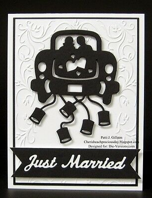 Just Married Wedding Car die -  for use in most cutting systems!