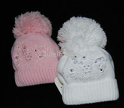 Baby Girl Cotton Lined Butterfly/Flower Pompom Hat  3-6 Mth *1 Supplied*