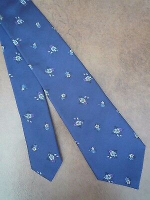 Paul Smith 100% Silk Navy Blue Floral Design Tie Made In Italy