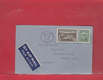 Peace issue 14c + 1c to England airmail  1949 clean Canada cover