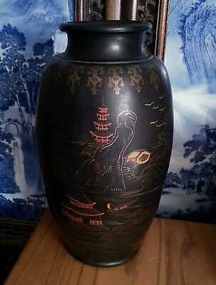 Vintage Japanese export hand painted black ceramic bulb vase 12 inches
