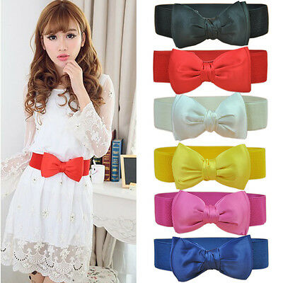 Fashion Women Belt Bowknot Wide Dress Belts Elastic Stretch Buckle Waist Strap