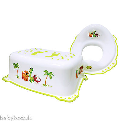 Toddler Toilet Training Set - Step Stool & Training Seat - Cute Dinosaurs Design