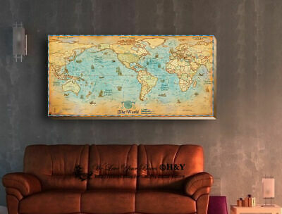 Ancient World Map Stretched Canvas Print Framed Antique Wall Art Vintage Decor