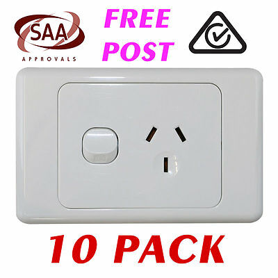 10 x Single 10AMP Power Point GPO - White Electrical Supplies Standard - SAA