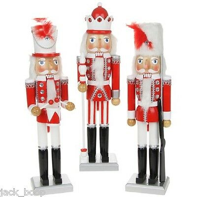 "Wooden Nutcracker Soldier Red And White Choice Of Style And Size 10"" Or 15"""