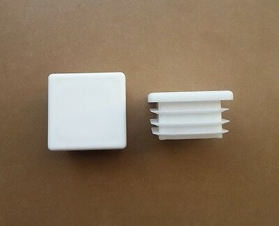 40mm x 40mm Square Plastic End Caps Blanking Plugs Tube Inserts / White